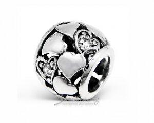 Подвеска-спейсер из серебра, сердечки со вставками (разные цвета)