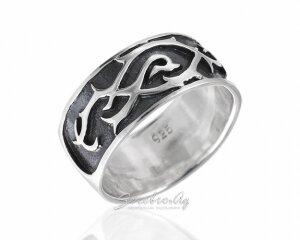 Широкое кольцо с кельтским орнаментом, серебро 925 пробы