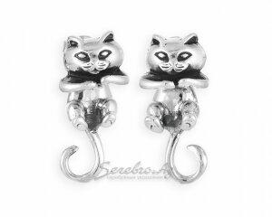 Серьги-пусеты Кошки из серебра, составные, 2 элемента