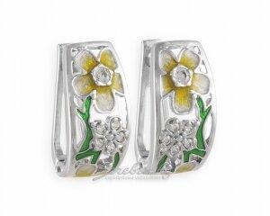 Широкие серьги - паруса с цветами из эмали и фианитов, серебро, родирование