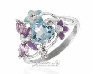 Разноцветное серебряное колечко с топазом и аметистовой бабочкой