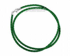 Шнур-гайтан из нат. кожи, плетёный, зеленый, 3мм