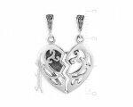 Кулон с сердечком из серебра на двоих