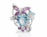 Легкое кольцо из серебра цветочной тематики, вид сверху