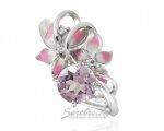 Вид кольца сверху (элегантное серебряное кольцо с цветами в розовых тонах)