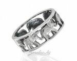 Серебряное кольцо со слониками, фото с верхнего ракурса