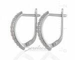 Родированные серьги - оковы из серебра, вид сбоку