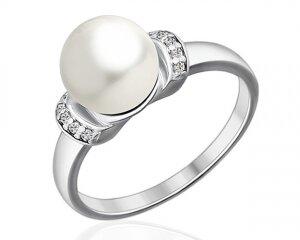 Женское кольцо с жемчужиной и 10 фианитами, серебро родированное