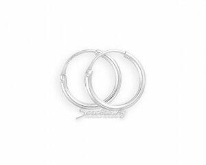 Кольца в уши из серебра, маленькие и гладкие, 1,5 см