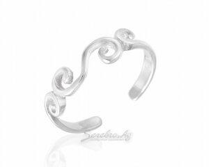 Кольцо на ногу из серебра с завитушками