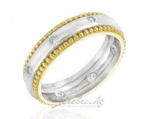 Обручальное кольцо-обруч с позолотой и фианитами, серебро 925 пробы, 5,5мм