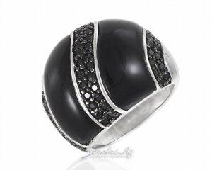 Крупный женский серебряный перстень с черной эмалью