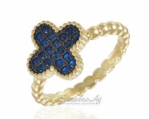 Кольцо из серебра с позолотой, лепестки с синими фианитами