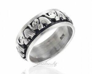 Кольцо со слонами без камней-вставок, серебро