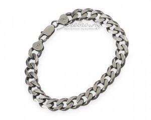 Широкий мужской браслет панцирного плетения, серебро, коричневое покрытие, 0,9 с