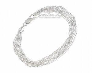 Браслет из множества серебряных нитей шарикового плетения