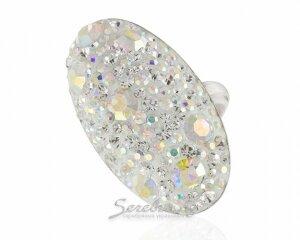 Кольцо овальной формы со светлыми и радужными стразами, серебро, родирование