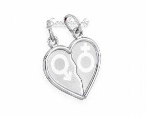 Разломанное сердце, подвеска для двоих: мужское и женское