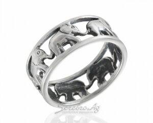 Кольцо 7 слонов, барельеф, серебро, чернение