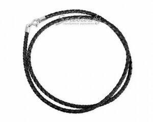 Плетеный шнур из натуральной кожи, черный, 3 мм
