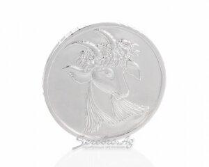 Серебряная монета на счастье, символ года: коза