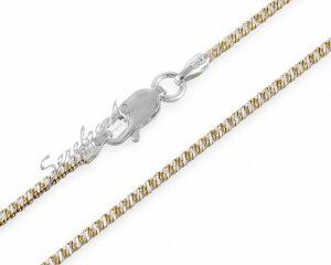 Цепочка снейк (змейка) из серебра с позолотой, частая спираль, 1,6 мм
