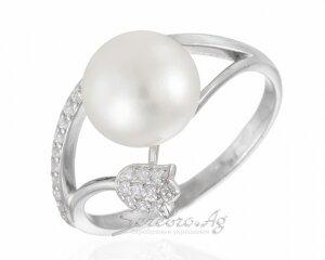 Кольцо из серебра с жемчугом и тюльпаном, родий, фианиты