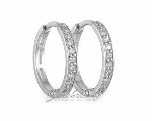 Серьги мини-колечки с рядами фианитов, серебро, 1,5 см