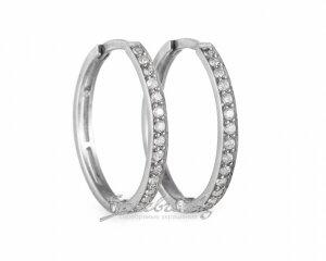 Cерьги кольца в обсыпке фианитов, серебро, 2 см