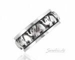 Кольцо со слониками, серебро, подвижная середина