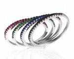 Тонкие кольца из серебра со вставками разных цветов