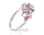 Небольшое кольцо из серебра с цветами в розовых тонах и аметистом, вид сбоку